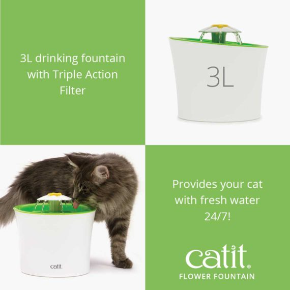 Catit Flower Fountain is a 3L drinking fountain with Triple Action Filter and provides your cat with fresh water 24/7