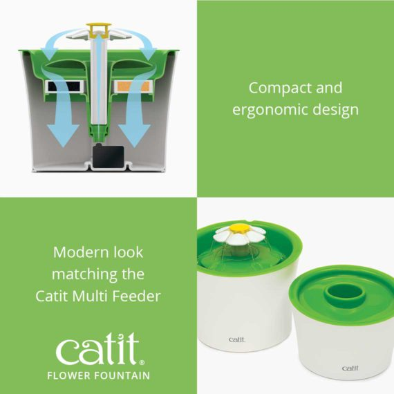 Catit Flower Fountain has a compact and ergonomic design with a modern look matching the Catit Multi Feeder
