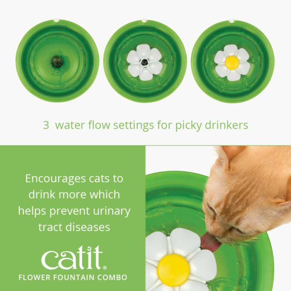 Flower Fountain Combo - 3 water flow settings for picky drinkers and encourages cats to drink more which helps prevent urinary tract diseases