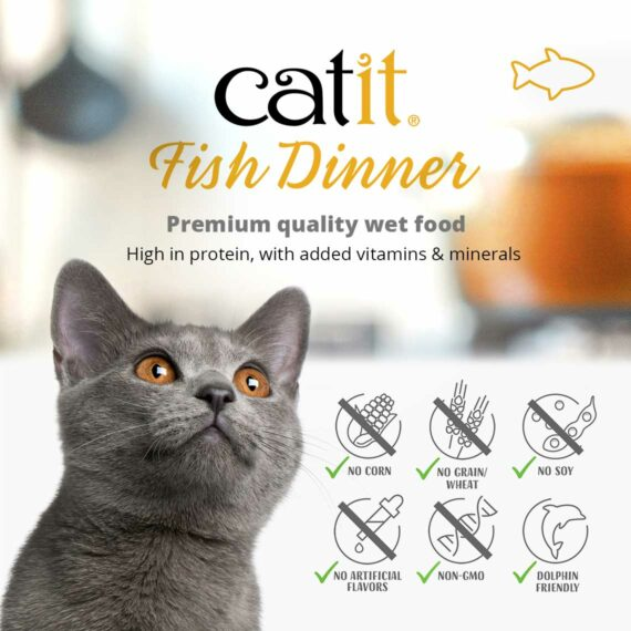 Catit Fish Dinner - Premium quality wet food. High in protein, with added vitamins & minerals