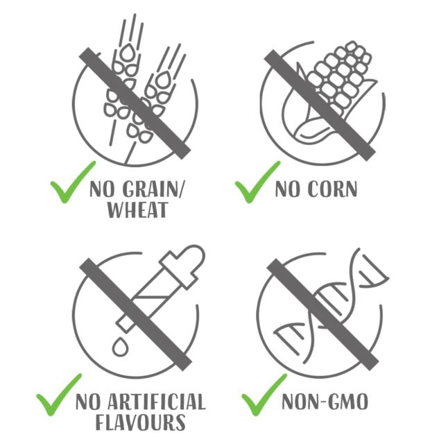 No grain wheat - no corn - no artificial flavours - non gmo
