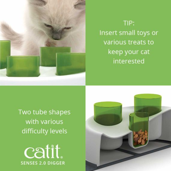 Senses 2.0 Digger Tip: insert small toys or various treats to keep you cat interested. It has two tube shaps with various difficulty levels