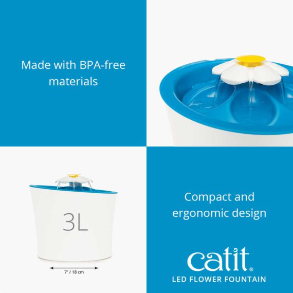 Catit LED Flower Fountain is made of BPA-free materials and has a compact and ergonomic design