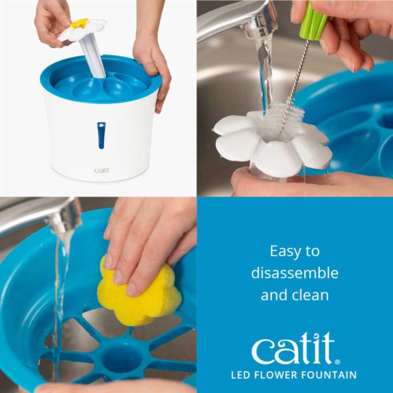 Catit LED Flower Fountain is easy to disassemble and clean