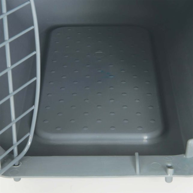 The Catit Carrier has a skid resistant bottom with waste collection gutter