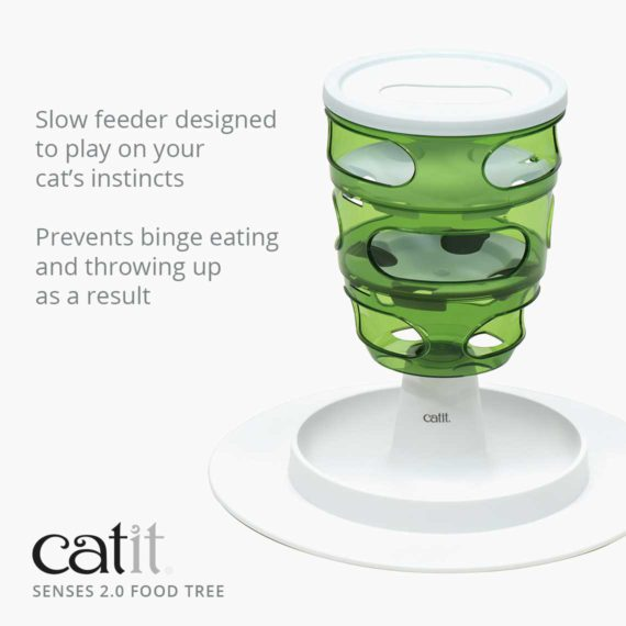 Senses 2.0 Food Tree is a slow feeder designed to play on your cat's instincts and prevents binge eating and throwing up as a result