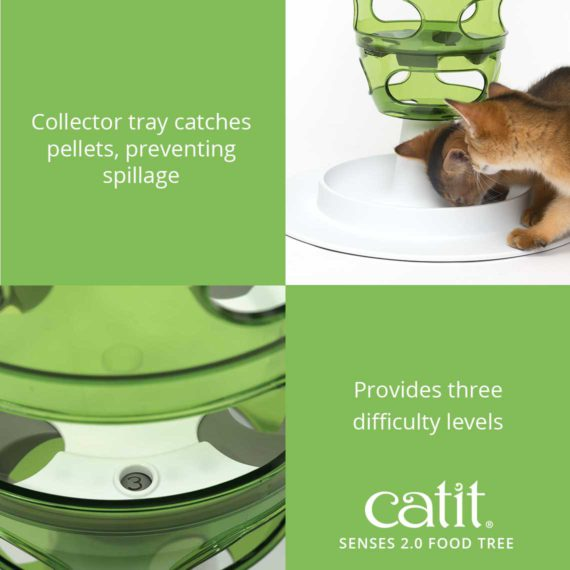 Senses 2.0 Food Tree's collector tray catches pellets, preventing spillage and it provides three difficulty levels