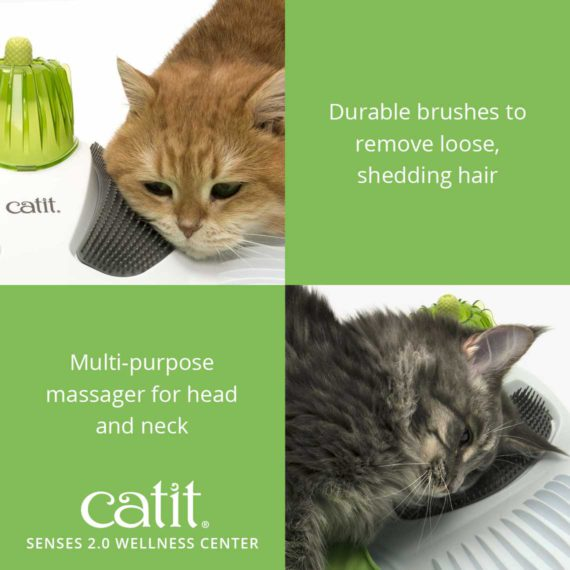 Catit Senses 2.0 Wellness Center has durable brushes to remove loose, shedding hair and has a multi-purpose massager for head and neck