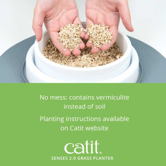 Senses 2.0 Grass Planter – No mess: contains vermiculite instead of soil. Planting instructions available on Catit website