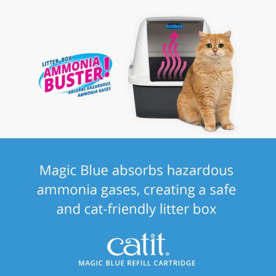Catit Magic Blue refill cartridge – Magic Blue absorbs hazardous ammonia gases, creating a safe and cat-friendly litter box