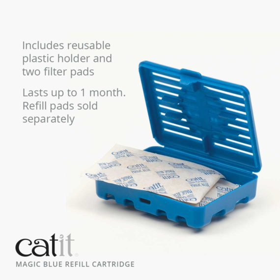 Catit Magic Blue refill cartridge includes reusable plastic holder and two filter pads. Lasts up to 1 month. The refill pads are sold separately