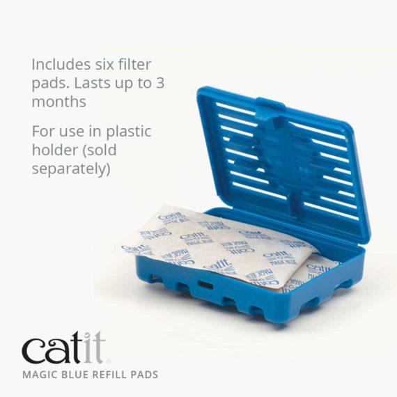 Catit Magic Blue refill pads includes Includes six filter pads. Lasts up to 3 months For use in plastic holder (sold separately)