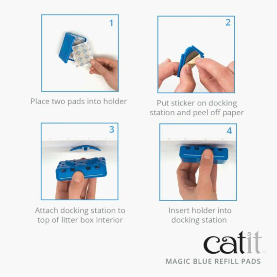 Catit Magic Blue refill pads – Place two pads into holder. Put sticker on docking station and peel off paper. Attach docking station to top of litter box interior. Insert holder into docking station.