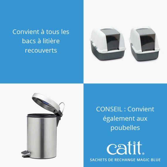 Sachets de rechange Magic Blue Catit - Convient à tous les bacs à litière recouverts. CONSEIL : Convient également aux poubelles