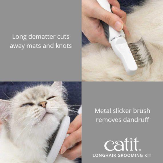 Catit Longhair Grooming Kit's long debater cuts away mats and knots. Metal slicker brush removes dandruff