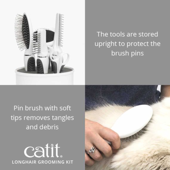 Catit Longhair Grooming Kit's tools are stored upright to protect the brush pins. Pin brush with soft tips removes tangles and debris