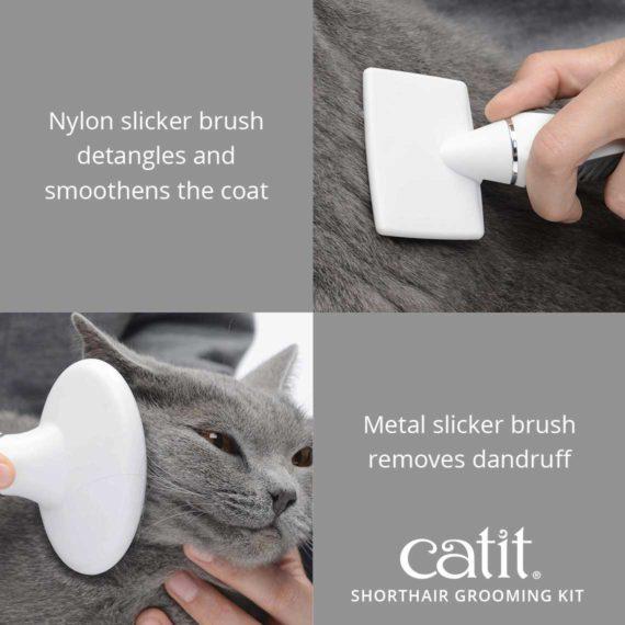Catit Shorthair Grooming Kit's nylon slicker brush detangles and smoothens the coat. The metal slicker brush removes dandruff