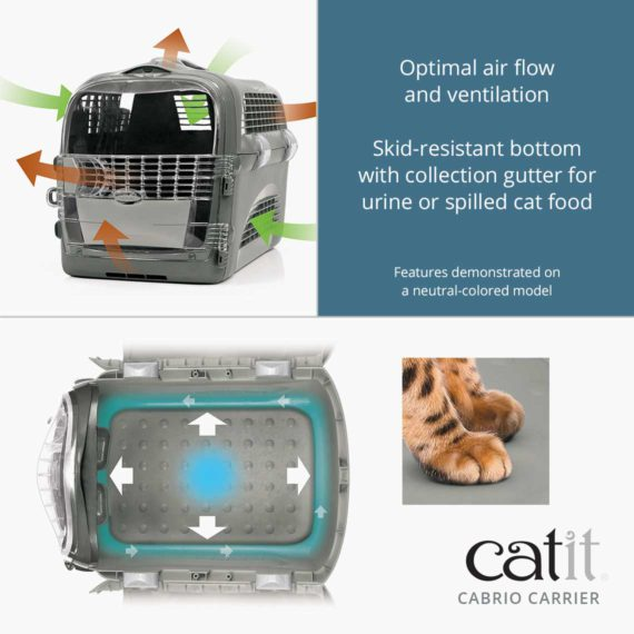 Catit Cabrio Carrier has optimal air flow and ventilation and a skid-resistant bottom with collection gutter for urine or spilled cat food