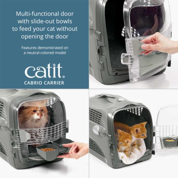 Catit Cabrio Carrier has a multi-functional door with slide-out bowls to feed your cat without opening the door