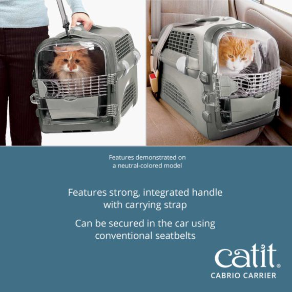 Catit Cabrio Carrier features strong, integrated handle with carrying strap. It can be secured in the car using conventional seatbelts