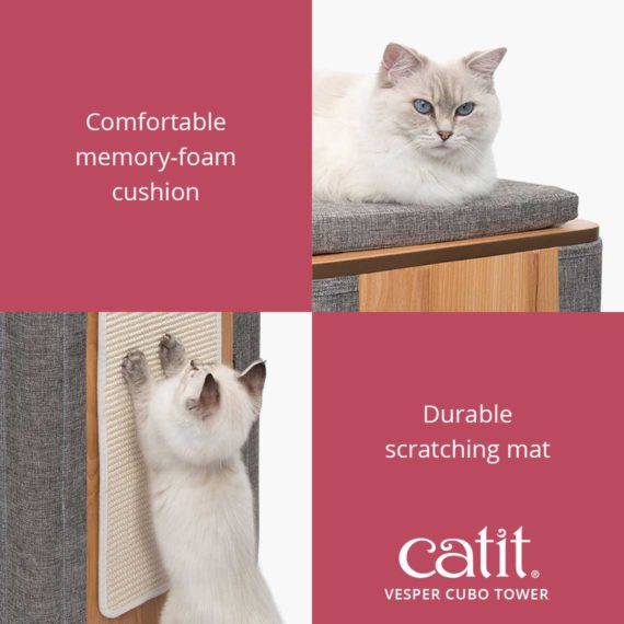 Catit Vesper Cubo Tower has a comfortable memory-foam cushion and a durable scratching mat