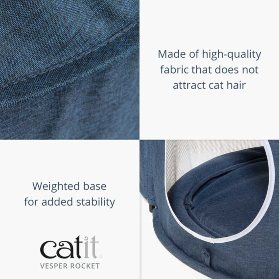Catit Vesper Rocket is made of high-quality fabric that does not attract cat hair and has a weighted base for added stability