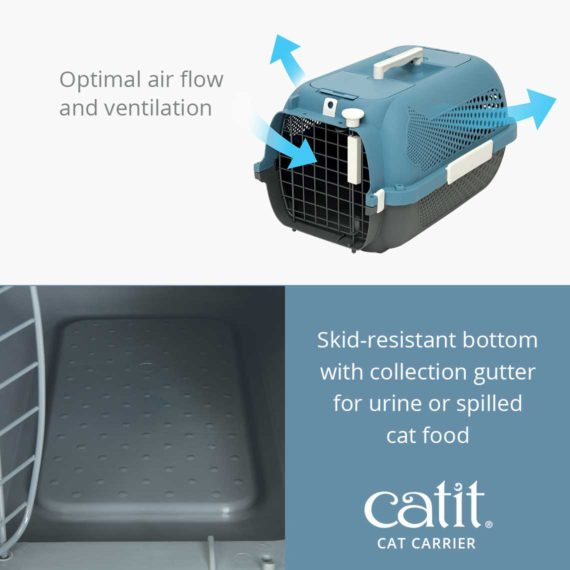 Catit Cat Carrier has an optimal air flow and ventilation and a skid-resistant bottom with collection gutter for urine or spilled cat food