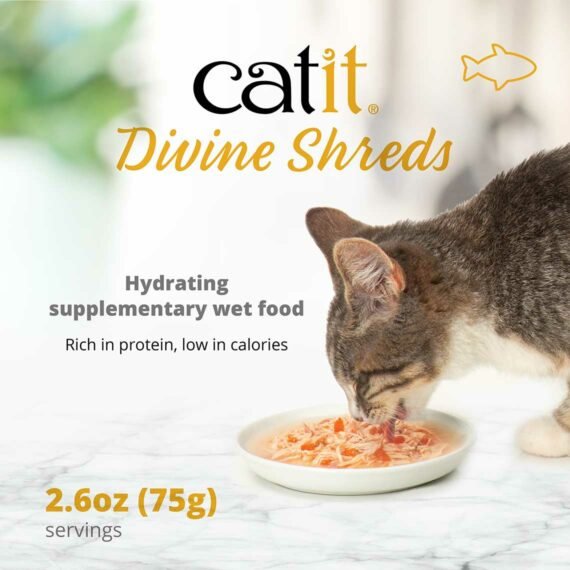 Catit Divine Shreds - Fish - Hydrating supplementary wet food - Rich in protein, low in calories