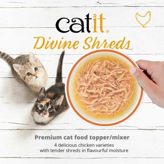 Catit Divine Shreds Chicken - premium cat food topper/mixer - 4 delicious chicken varieties with tender shreds in flavourful moisture
