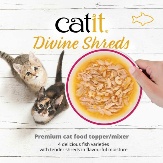 Catit Divine Shreds Fish - premium cat food topper/mixer - 4 delicious fish varieties with tender shreds in flavourful moisture