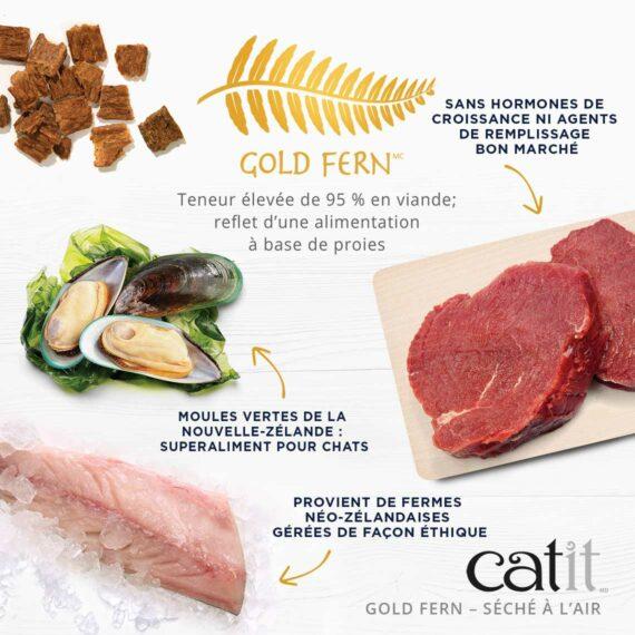 Catit Gold Fern - Teneur élevée de 96 % en viande; reflet d'une alimentation à base de proies. Sans hormones de croissance ni agents de remplissage bon marché. Moules vertes de la Nouvelle-Zélande : superaliment pour chats. Provient de fermes Néo-Zélandaises gérées de façon éthique