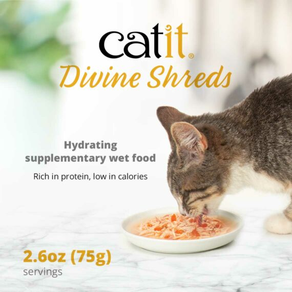 Catit Divine Shreds Multipacks - Hydrating supplementary wet food. Rich in protein, low in calories